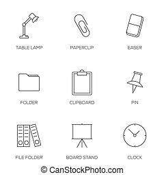 escritório, ferramentas, esboço, ícones