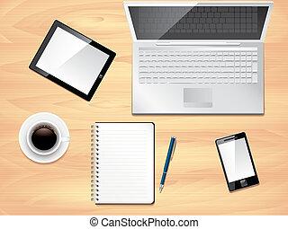escritório, foto, topo, realístico, vetorial, escrivaninha, ...