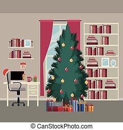 escritório, grande, laptop, árvore, cena, desktop, presentes, janela, livros, fundo, estante, lar, natal