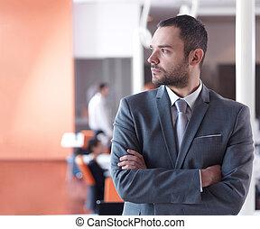 escritório, homem, retrato, negócio, modernos, jovem
