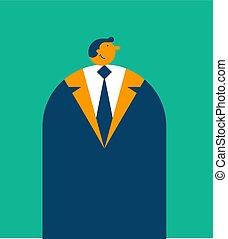 escritório, ilustração, style., vetorial, retro, homem negócios, caricatura, homem