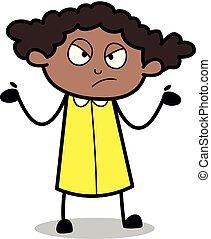 escritório, -, ilustração, vetorial, ignorante, retro, menina preta, caricatura