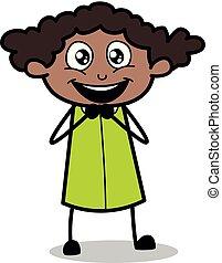 escritório, -, ilustração, vetorial, pretas, retro, menina, adorável, caricatura