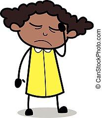 escritório, -, ilustração, vetorial, pretas, retro, menina, caricatura, dor de cabeça