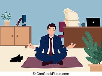 escritório, ioga, homem negócios