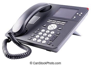 escritório, ip, telefone, isolado, branco