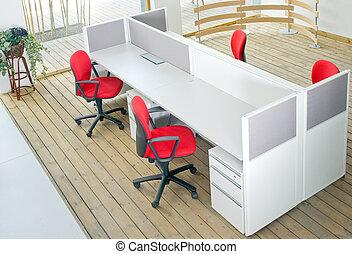 escritório, jogo, escrivaninhas, cadeiras, vermelho, cubículo