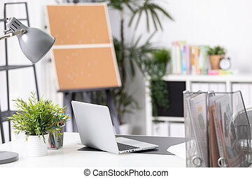 escritório, laptop, trabalho, confortável, caderno, local trabalho, tabela