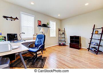escritório lar, com, assoalho hardwood, e, simples,...