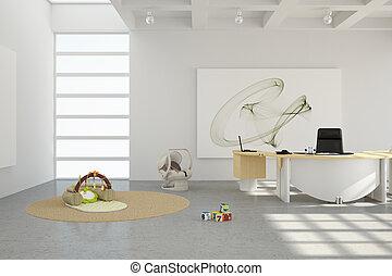 escritório lar, com, brinquedos