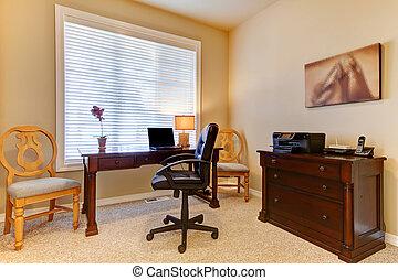 escritório lar, com, escrivaninha, em, bege, cores