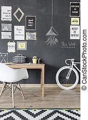 escritório lar, com, motivational, parede, idéia