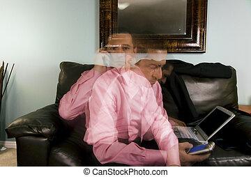 escritório, -, lar, multitasking, homem negócios, ou