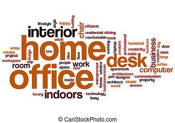 escritório lar, palavra, nuvem
