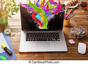 escritório, local trabalho, com, laptop.