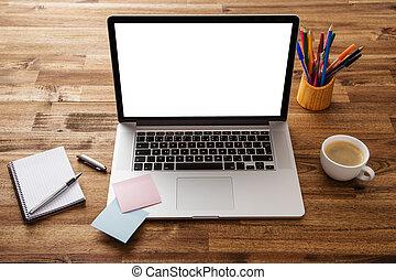 escritório, local trabalho, com, madeira, desk.