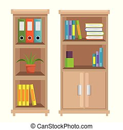 escritório, lugar, cena, biblioteca