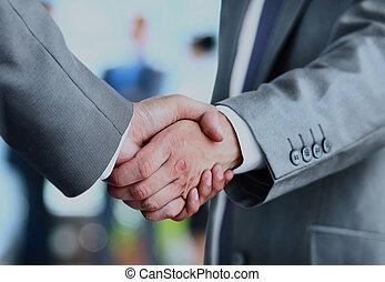 escritório., mãos sacudindo, pessoas negócio