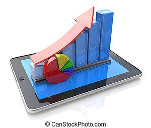 escritório móvel, estatísticas, contabilidade, financeiro, desenvolvimento, e, operação bancária, negócio, concept:, tabuleta, computador, crescimento, mapa barra
