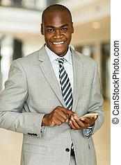 escritório, móvel, trabalhador, telefone, africano, usando