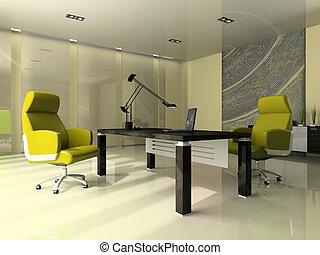escritório, modernos, dois, verde, interior, poltronas