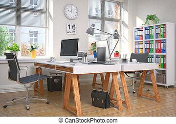 escritório, modernos, -, fazendo, local trabalho, lar, 3d