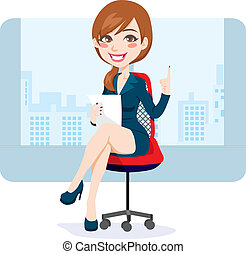 escritório, morena, mulher