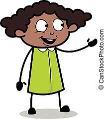 escritório, mostrando, -, ilustração, mão, falando, vetorial, pretas, retro, menina, caricatura, gesto