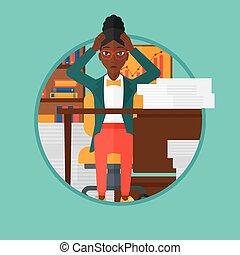 escritório., mulher, desespero, espair, sentando