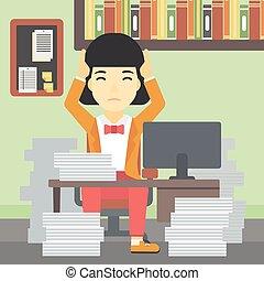 escritório., mulher, desespero, negócio, sentando