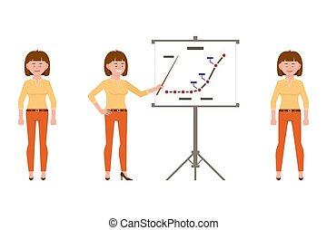 escritório, mulher, trabalhador, vista dianteira, laranja,...