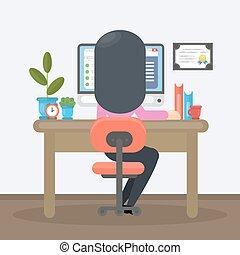 escritório., mulher, trabalhando