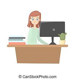 escritório., mulher, trabalhos