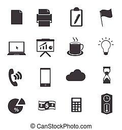 escritório negócio, ícones, jogo