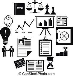 escritório negócio, ícones, jogo, simples, estilo