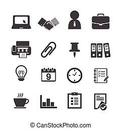 &, escritório negócio, ícones