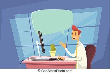 escritório negócio, comunicação, texting, envie, computador desktop, local trabalho, conversa, internet, mensagem, homem