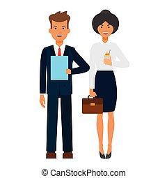 escritório negócio, equipe, caricatura, apartamento, vetorial, ilustração, conceito, ligado, isolado, fundo branco
