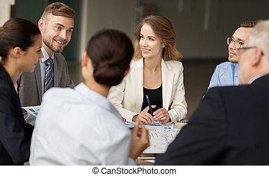 escritório, negócio, esquema, reunião, equipe