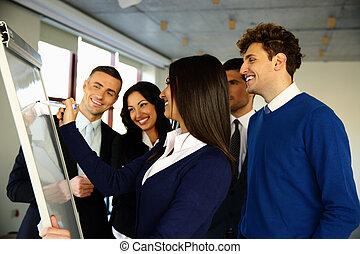 escritório, negócio, inverter, tábua, equipe, feliz