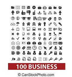 escritório negócio, jogo, ícones, vetorial, sinais, 100