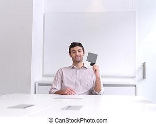 escritório, negócio, modernos, jovem, retrato, homem
