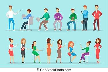 escritório negócio, pessoas, set., personagem, cobrança