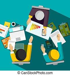 escritório, negócio, sentando, topo, vetorial, desenho, homens negócios, vista, quarto encontrando
