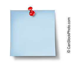 escritório, nota, em branco, azul