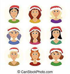 escritório, pacote, ícones, avatar, ano, novo, pessoal, mulheres