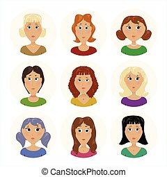 escritório, pacote, ícones, avatar, mulheres, pessoal