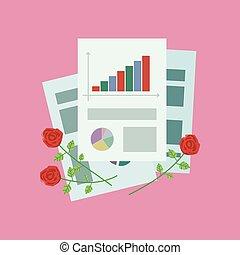 escritório, papel, p, rosees, folhas, composição, vermelho