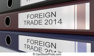 escritório, pastas, com, comércio exterior, etiquetas,...