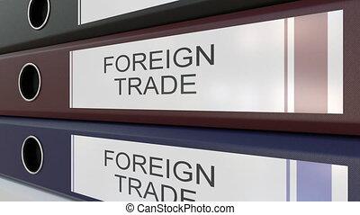 escritório, pastas, com, comércio exterior, etiquetas